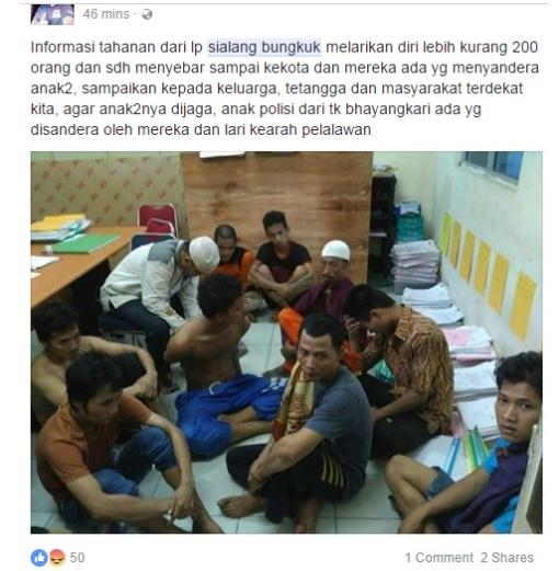Informasi tahanan dari lp sialang bungkuk melarikan diri